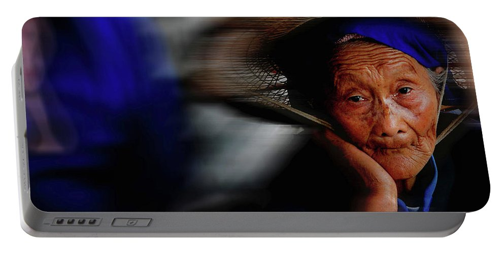 People Portrait Portable Battery Charger featuring the photograph Portrait Of A Senior Lady In Yun Nan, China by Kang Wu