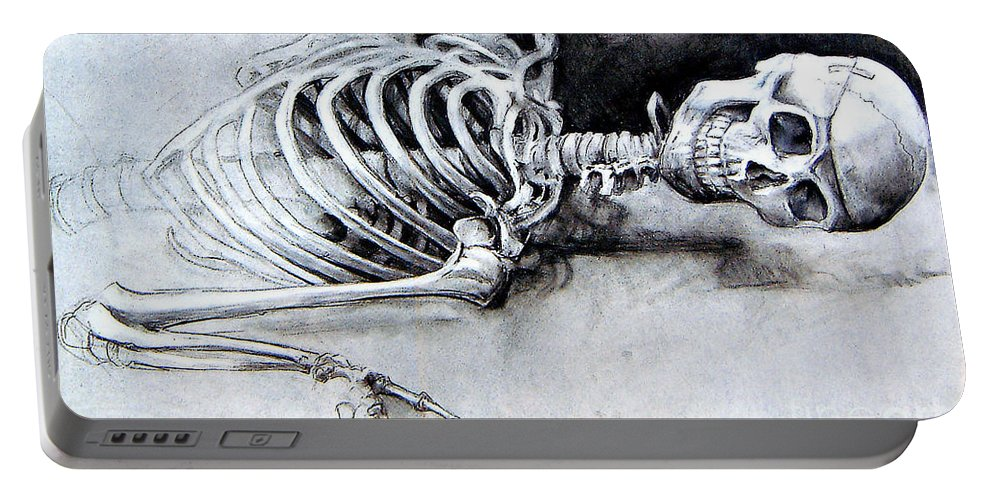 Skeleton Portable Battery Charger featuring the drawing Portrait Of A Skeleton by Linda Shackelford