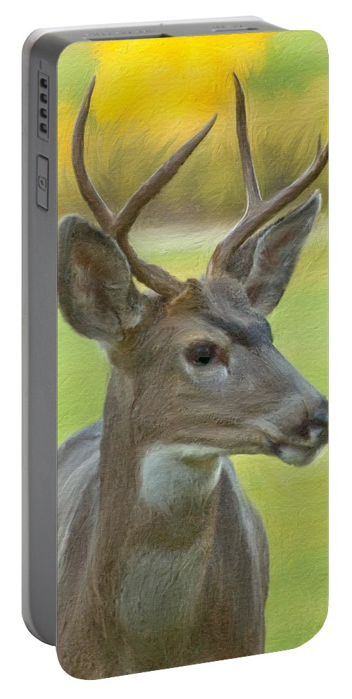 Digital Art Portable Battery Charger featuring the digital art Portrait Of A Young Buck by Mick Burkey