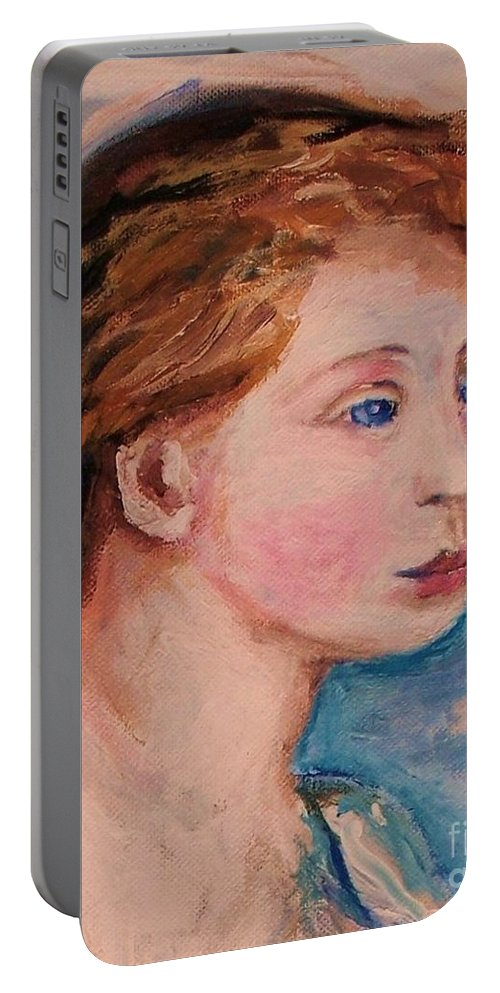 Portraits Portable Battery Charger featuring the painting Portrait Of Country Girl by Eric Schiabor
