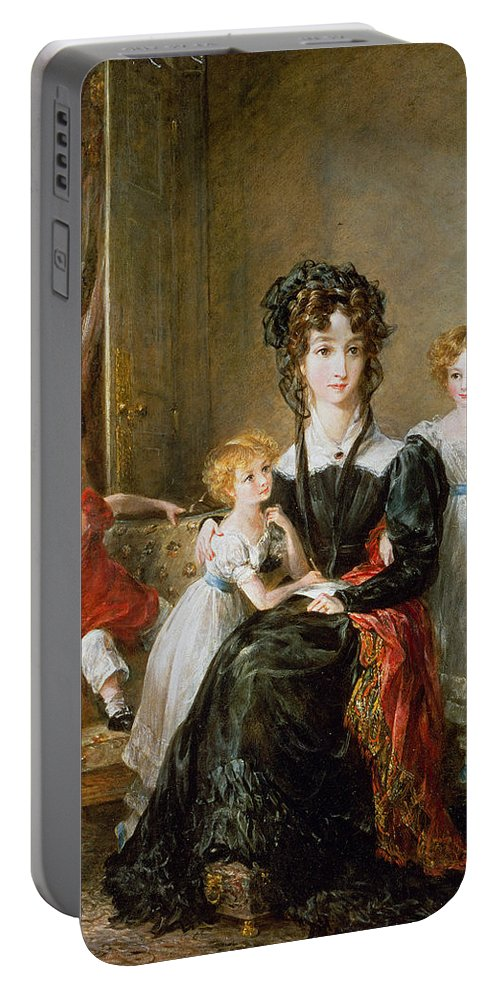 Portrait Portable Battery Charger featuring the painting Portrait Of Elizabeth Lea And Her Children by John Constable