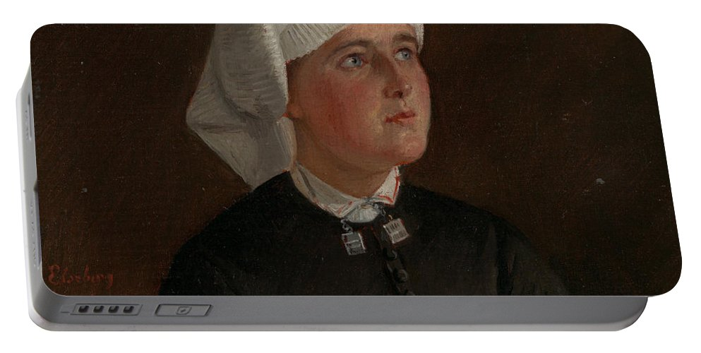 Norwegian Art Portable Battery Charger featuring the painting Portrait Of Elseberg Herrestvedt by Adolph Tidemand