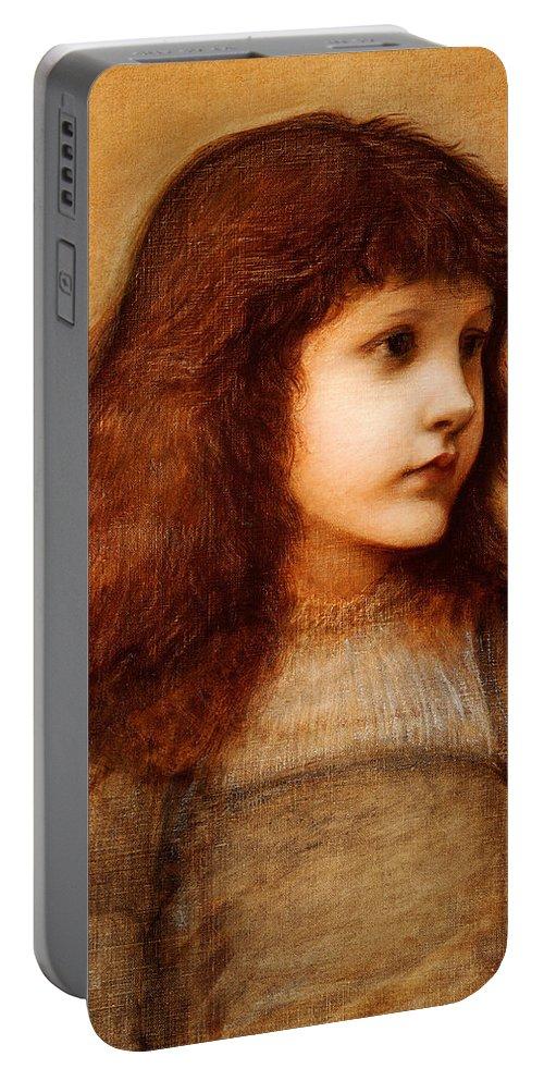 Edward Burne Jones Portable Battery Charger featuring the painting Portrait Of Gertie Lewis by Edward Burne-Jones
