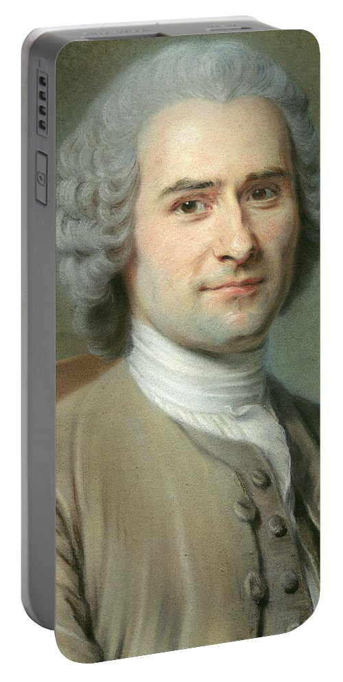 Portrait Of Jean Jacques Rousseau Portable Battery Charger featuring the painting Portrait Of Jean Jacques Rousseau by Maurice Quentin de la Tour