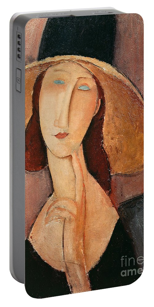 Portrait Portable Battery Charger featuring the painting Portrait Of Jeanne Hebuterne In A Large Hat by Amedeo Modigliani