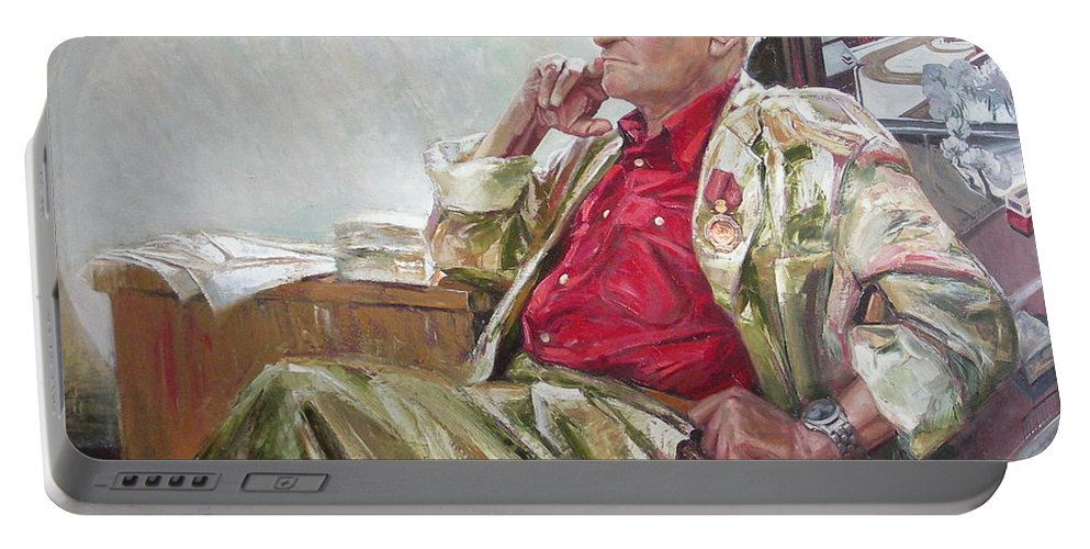 Oil Portable Battery Charger featuring the painting Portrait Of May Dancig by Sergey Ignatenko