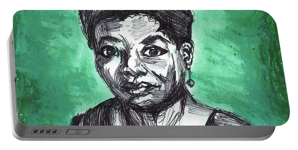 Woman Portable Battery Charger featuring the mixed media Portrait Of Maya Angelou by Sophia Sieber