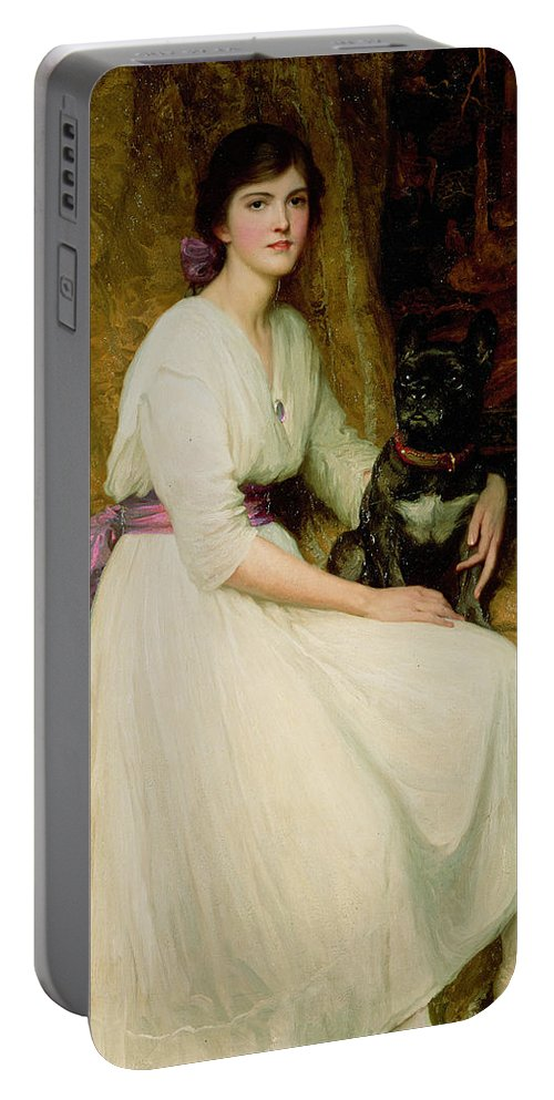 Portrait Portable Battery Charger featuring the painting Portrait Of Miss Dorothy Dicksee by Sir Frank Dicksee