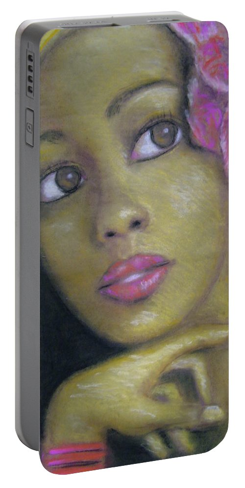 Drawing Portable Battery Charger featuring the drawing Portrait Of Monica by Jan Gilmore