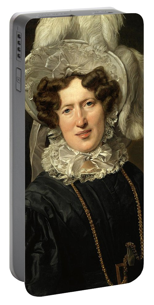 Ferdinand Georg Waldmueller Portable Battery Charger featuring the painting Portrait Of Mrs Wartfeld by Ferdinand Georg Waldmueller