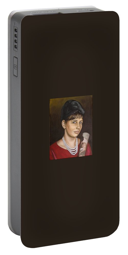 Portrait Portable Battery Charger featuring the painting Portrait Of My Mother Early Sixties by Rob De Vries