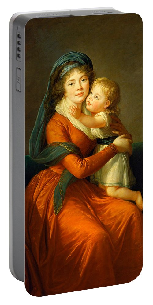 French Artist Portable Battery Charger featuring the painting Portrait Of Princess Alexandra Golitsyna And Her Son Piotr by Louise Elisabeth Vigee Le Brun