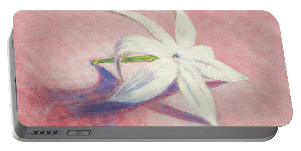 Portrait Portable Battery Charger featuring the painting Portrait of the Jasmine flower by Usha Shantharam
