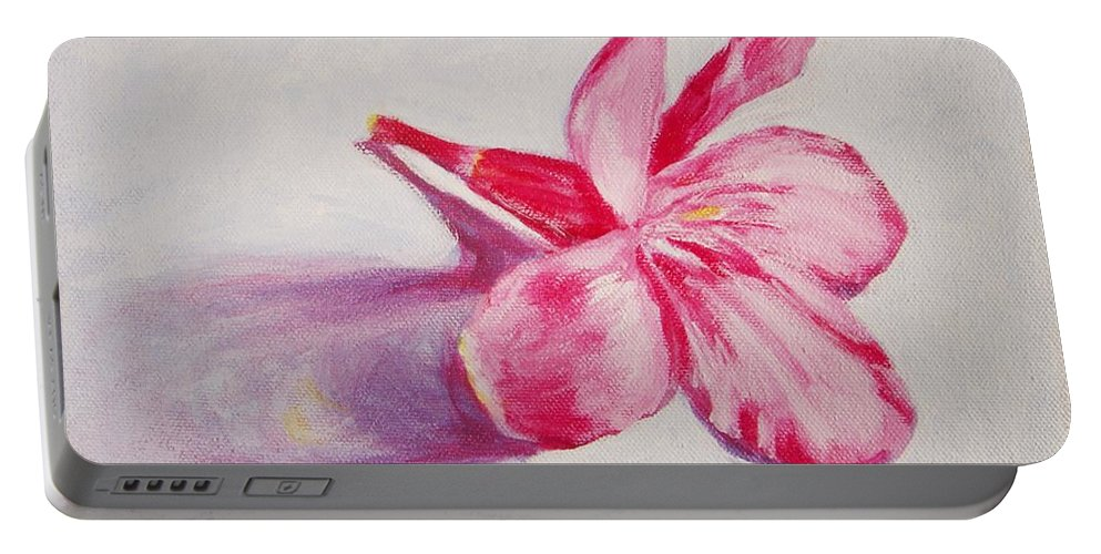 Genneri Portable Battery Charger featuring the painting Portrait Of The Kaneri Flower. Oleander by Usha Shantharam