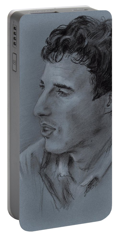 Man Portable Battery Charger featuring the drawing Portrait Of Young Man 19 by Masha Batkova