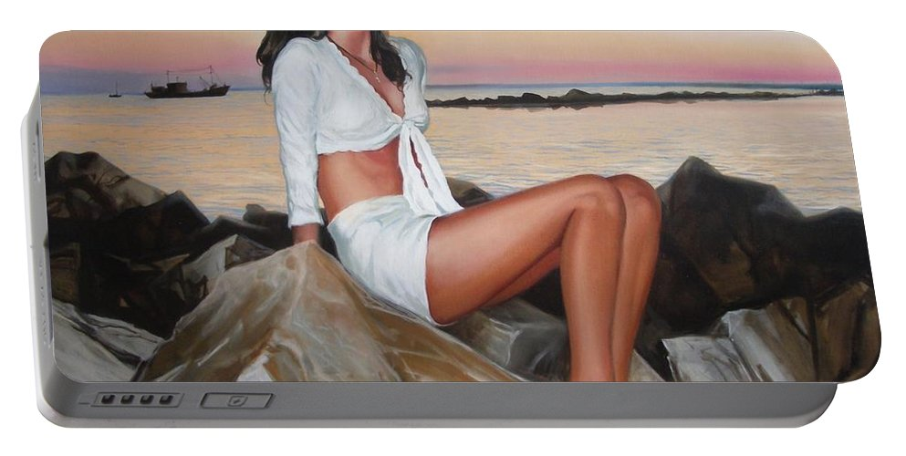 Art Portable Battery Charger featuring the painting Portrait by Sergey Ignatenko