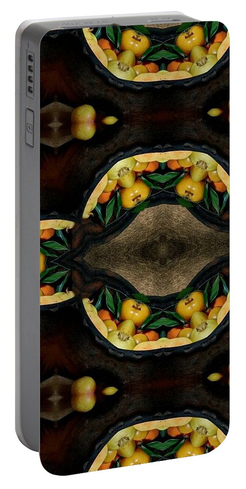 Portrait Setting Portable Battery Charger featuring the digital art Portrait Setting Of Fruit Reflection Art by Sheila Mcdonald