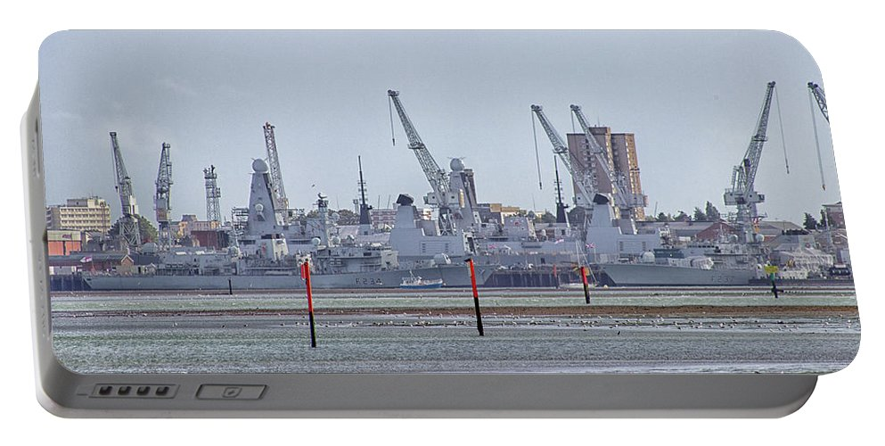 Portsmouth Portable Battery Charger featuring the photograph Portsmouth Navy Docks by Martin Newman