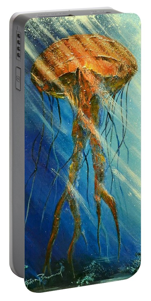 Portuguese Man Of War Portable Battery Charger featuring the painting Portuguese Man Of War by Stephen Broussard