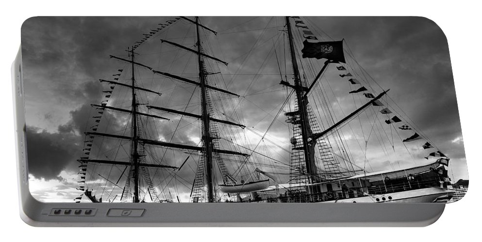 Brig Portable Battery Charger featuring the photograph Portuguese Tall Ship by Gaspar Avila