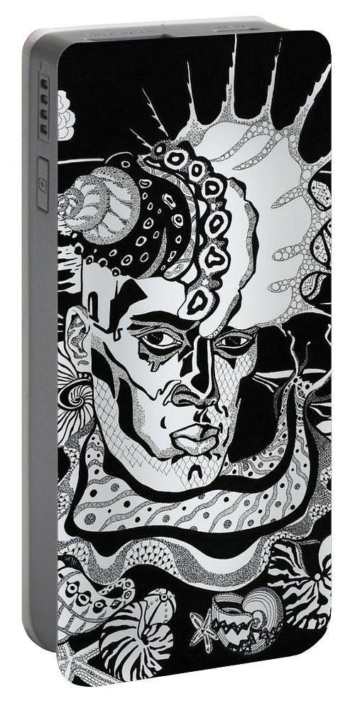 Surreal Portable Battery Charger featuring the drawing Poseidon by Yelena Tylkina