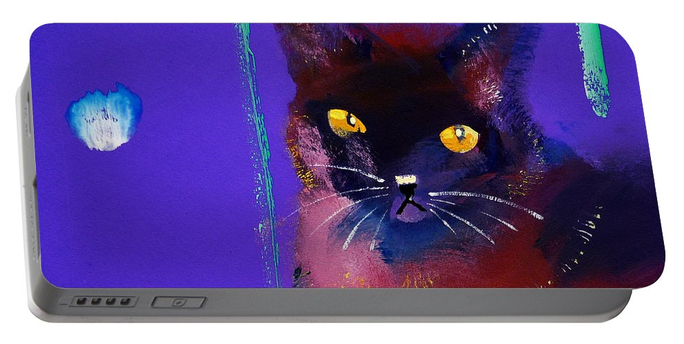 Cat Portable Battery Charger featuring the painting Posh Tom Cat by Charles Stuart