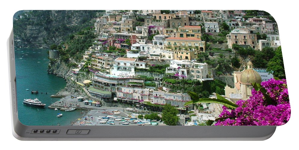 Positano Portable Battery Charger featuring the photograph Positano's Beach by Donna Corless