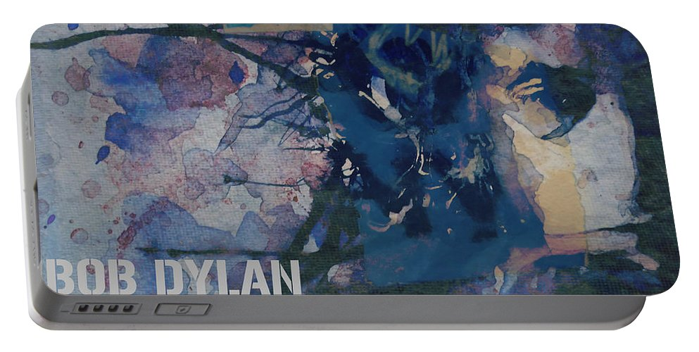 Bob Dylan Portable Battery Charger featuring the painting Positively 4th Street by Paul Lovering