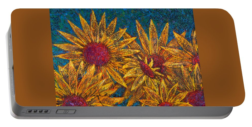 Flowers Portable Battery Charger featuring the painting Positivity by Oscar Ortiz
