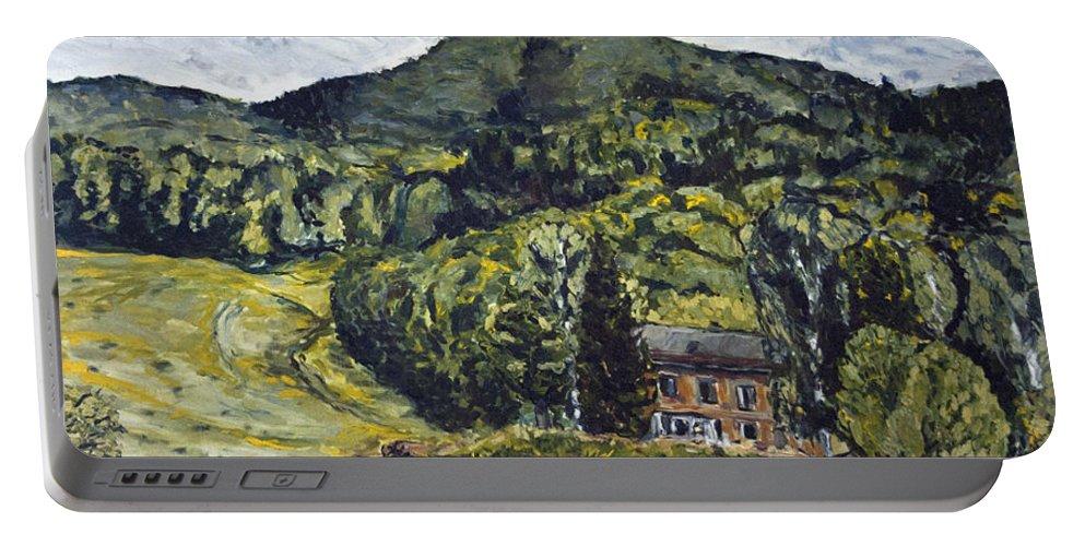 Landscape Portable Battery Charger featuring the painting Posledni Dum Pod Vyhlidkou by Pablo de Choros