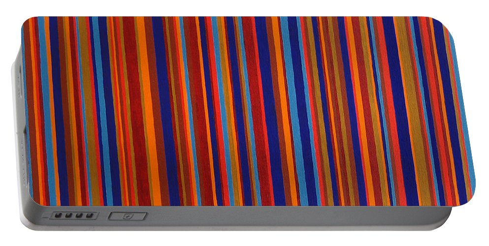 Stripes Portable Battery Charger featuring the painting Post Pictura by Oliver Johnston