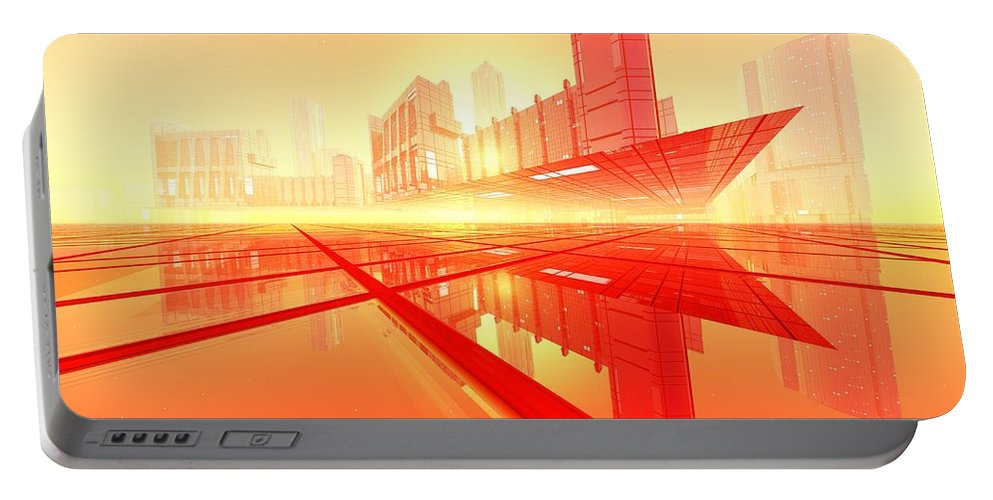 Abstractly Portable Battery Charger featuring the digital art Poster-city 1 by Max Steinwald