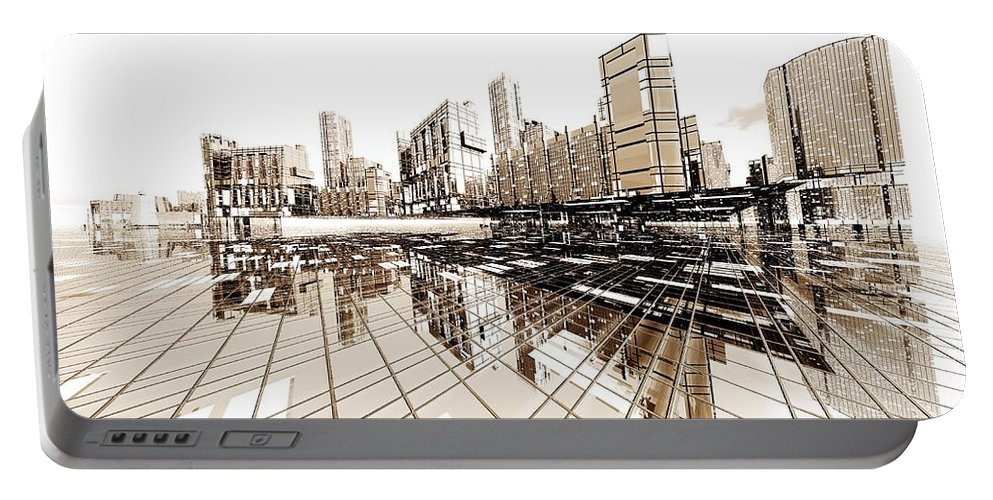 Abstractly Portable Battery Charger featuring the digital art Poster-city 4 by Max Steinwald