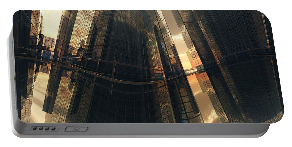 Reflection Portable Battery Charger featuring the digital art Poster-city 7 by Max Steinwald