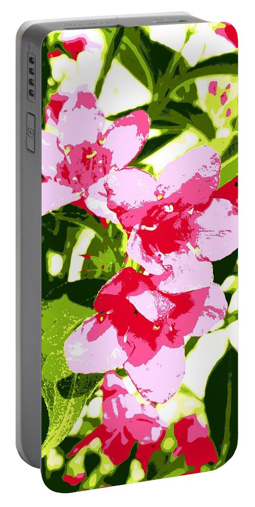 Flowers Portable Battery Charger featuring the photograph Poster Pink by Stefanie Beauregard
