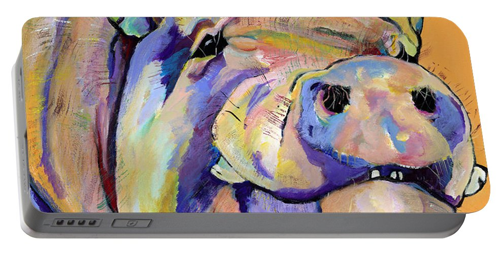 Pig Prints Portable Battery Charger featuring the painting Potbelly by Pat Saunders-White