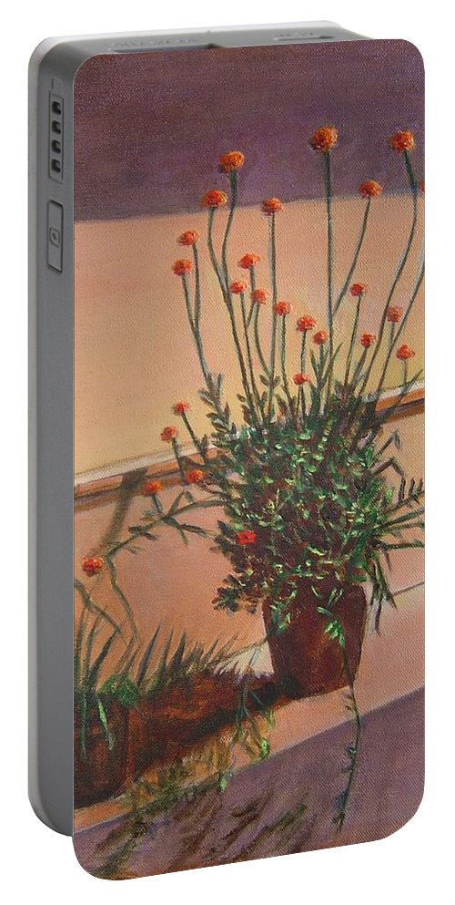 Pot Portable Battery Charger featuring the painting Potfull Of Bounty by Usha Shantharam