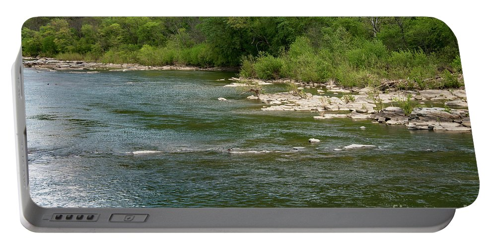 Harper's Ferry National Historic Park West Virginia Water Potomac River Rivers Stone Stones Tree Trees Waterscape Waterscapes Landscape Landscapes Portable Battery Charger featuring the photograph Potomac River by Bob Phillips