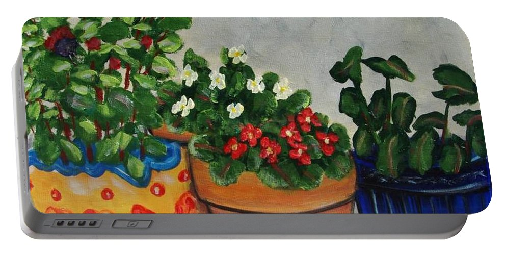 Ceramic Pots Portable Battery Charger featuring the painting Pots Showing Off by Laurie Morgan
