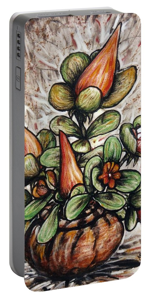 Potted Flower #2 Portable Battery Charger featuring the painting Potted Flower #2 by Mbonu Emerem