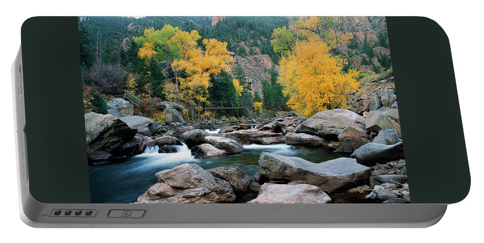 Colorado Portable Battery Charger featuring the photograph Poudre Gold by Jim Benest