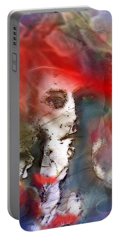 Red.portrait Portable Battery Charger featuring the painting Pour Tout Comprendre, Il Suffit De Considerer Le Ciel by Freddy Kirsheh