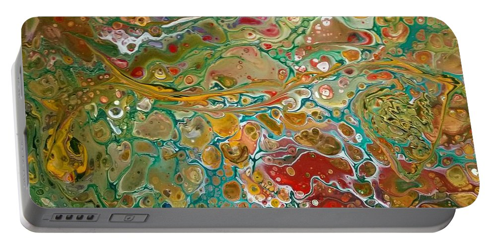 Pour Portable Battery Charger featuring the painting Pour10 by Valerie Josi