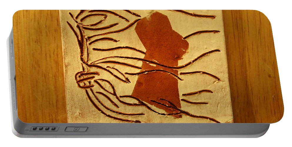 Jesus Portable Battery Charger featuring the ceramic art Pout - Tile by Gloria Ssali