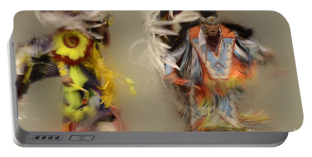 Pow Wow Portable Battery Charger featuring the photograph Pow Wow Beauty Of The Dance 1 by Bob Christopher