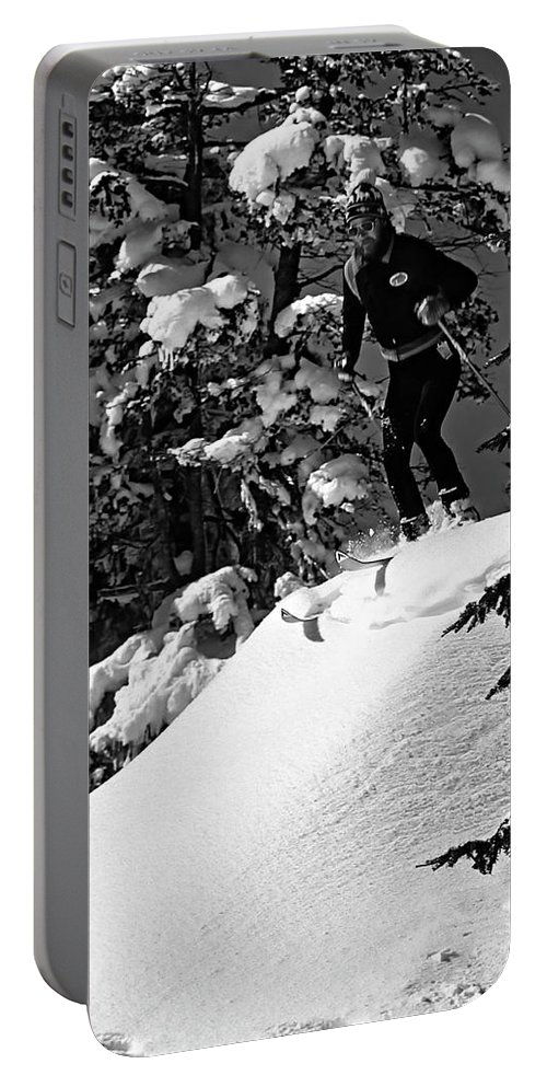 Smuggler's Notch Portable Battery Charger featuring the photograph Powder Hound Bw Version by Steve Harrington