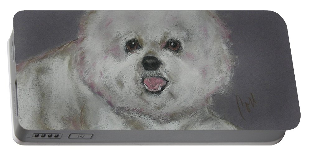 Bichon Frise Portable Battery Charger featuring the drawing Powder Puff by Cori Solomon