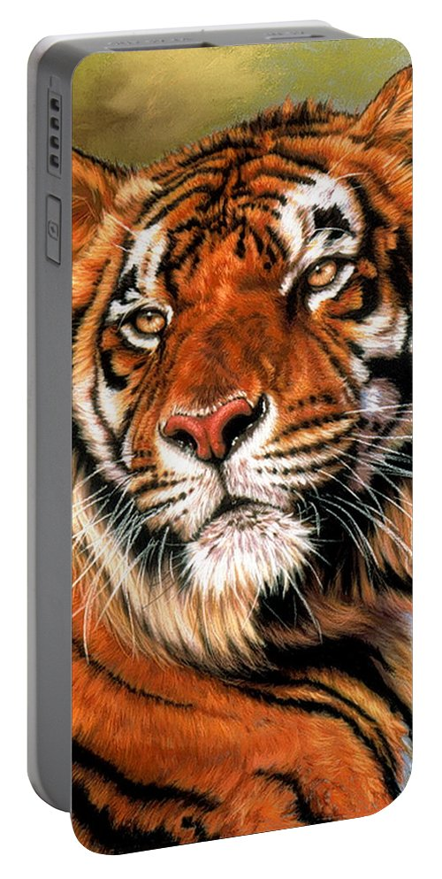 Tiger Portable Battery Charger featuring the pastel Power And Grace by Barbara Keith