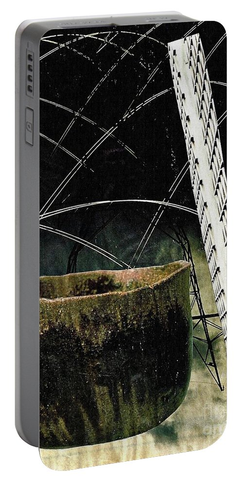 Abstract Portable Battery Charger featuring the mixed media Power Lines by Sarah Loft