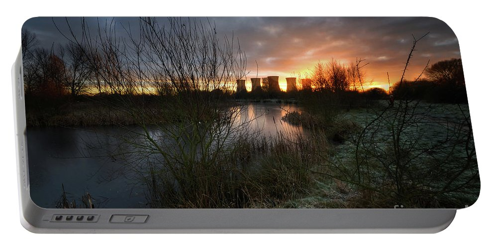 Landscape Portable Battery Charger featuring the photograph Power Plant Sunrise 1.0 by Yhun Suarez